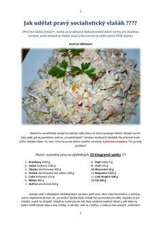 PRAVÝ SOCIALISTICKÝ VLAŠÁK Czech Recipes, Russian Recipes, Ethnic Recipes, Pasta Salad, Potato Salad, Appetizers, Food And Drink, Potatoes, Crab Pasta Salad