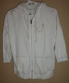 $24.95 Women's American Eagle Outfitters Cream Colored Zip Front 3/4 Sleeves Hoodie Jacket Size: Large