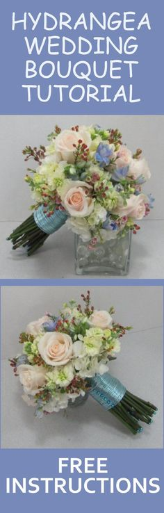 Hydrangea Wedding Bouquet - DIY Free Flower Tutorial   Learn how to make bridal bouquets, corsages, boutonnieres, reception table centerpieces and church decorations.  Buy wholesale fresh flowers and discount florist supplies.