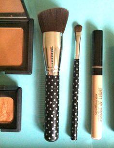 make up brushes decorated with washi tape