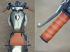 Leather wrapped grips