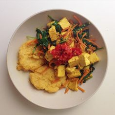 Baked Grit Cakes with Spinach Tofu Scramble