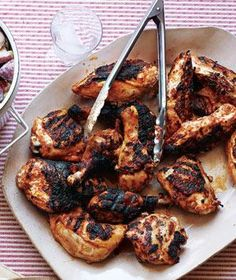 Grilled Buttermilk Chicken - 1 1/2  cups  buttermilk  8  cloves  garlic, chopped  1  tablespoon  paprika  kosher salt and black pepper  6  pounds  bone-in chicken pieces
