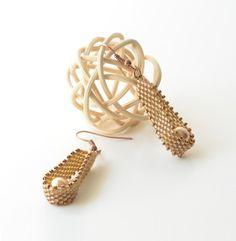 Beaded Pearl Earrings Teardrop Beaded Earrings Golden by JPJbeaded, $36.00