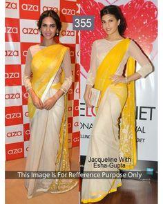 Bollywood Designer Jacqueline Yellow & Cream New Arrival Saree