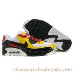 Hommes Nike Air Max 90 Chaussures Blanc Noir Jaune Rouge