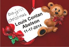 Baby's First Baby Bear Loving Heart for Boy Personalized Christmas Ornament