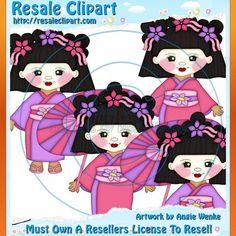 Geisha Girls Pinks Clipart  Digital Download by MaddieZee on Etsy, $1.50