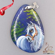 JEWELRY NECKLACE HAND PAINTED HORSE GEMSTONE PENDANT BEAD ZL8012674 #ZL #PENDANT