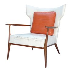 Rare Leather Paul McCobb Directional Wing Chair