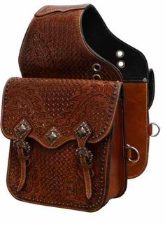 Showman ® Tooled leather saddle bag with antique copper hardware. This saddle bag features oak leaf and basket weave tooling and comes equipped with front D rings. Bag measures x x with a gusset. Leather Saddle Bags, Leather Tooling, Tooled Leather, Leather Handbags, Brown Leather, Horse Saddles, Horse Tack, Western Saddles, Motorcycle Saddlebags