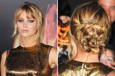 a much better picture of Jennifer Lawrence's beautiful updo for Hunger Games premiere