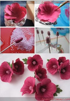 Tutorial, this is polymer clay but the same technique works for fondant and gum paste. Sugar Paste Flowers, Icing Flowers, Fondant Flowers, Edible Flowers, Paper Flowers, Fondant Rose, Fondant Cakes, Rose Icing, Fondant Baby
