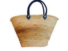 Bohemian Straw Bag  , French market bag, Boho bag , mediterranean bag, Moroccan basket, Blue leather handles, Long handles.