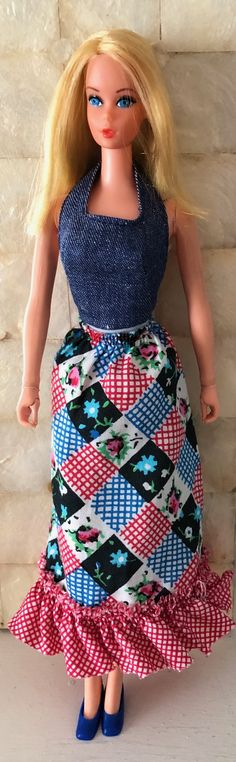 The newest edition to my Mod Barbie collection is Busy Barbie (#3311) who debuted in 1972; the year maxi dresses, mini skirts, knee socks and patterns happened in a big way! #busybarbie #busybarbiedoll #70sbarbie #modbarbie #holdinhandsbarbie