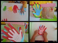 ...Το Νηπιαγωγείο μ' αρέσει πιο πολύ.: Εμείς στην οικογένειά μας είμαστε ευτυχισμένοι μαζί. Το παλαμόσπιτό μας. I School, My Family, Preschool Activities, Flower Arrangements, About Me Blog, Frame, Greek, Students, Crafts