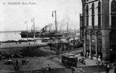 Tranvia en el puerto de Valencia, postal co,mercial, fondo : Miguel Diago Arcusa