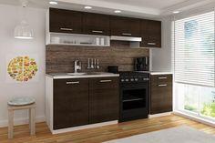 Küchenblock Luiza II 1,8m  Die hochwertigen 16 mm Fronten in Wenge dunkel zeichnen die Küche aus und schenken dem Raum einen Charme.  In eine Breite von 180 cm wurde viel Stauraum untergebracht wodurch sich diese Küchenzeile sehr gut für Singles eignet.  Als Vorteil zählen auch die 18 mm Laminat Korpusse mit ABS Kanten und die 28 mm starke Arbeitsplatte in verschiedenen Ausführungen.   Küche ohne E-Geräte, Spüle und Armatur.    Eine Küche, die keine Wünsche offen lässt! Kitchen Island, Kitchen Cabinets, Home Decor, Glamour, Counter Top, Closet Storage, Dark, To Draw, Island Kitchen