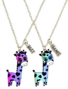 BFF Giraffe Necklaces got um I got purple Bella got blue