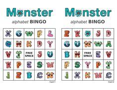 100 Monster Alphabet Bingo Cards, 2 per page, immediate pdf download, Halloween bingo, picture bingo, memory game Bingo Games, Party Games, Halloween Bingo Cards, Custom Bingo Cards, Alphabet Bingo, Memory Games, Work Party, I Am Game, The 100