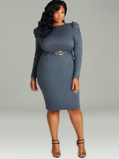 """""""Lexa"""" High Shoulder Dress with Removable Belt - Heather Grey - Day Dresses - Clothing - Monif C"""