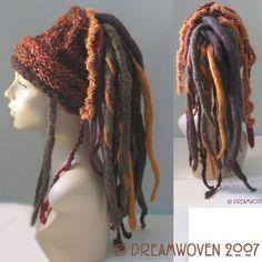 "Funk Meets Head – ""FiddleHeads"" Dread Wrap/Cuff with detachable Dread Falls - hair style Crochet Hood, Crochet Wrap Pattern, Crochet Beanie, Knit Crochet, Crochet Patterns, Retro Apron Patterns, Dread Falls, Dread Wraps, Dreadlock Accessories"