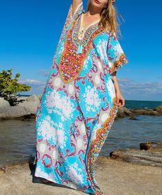 LOVES IT!!!   Loving this Aqua & Orange Scarf-Print Maxi Dress on #zulily! #zulilyfinds