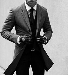 classy suit, leather gloves and coat | --> ONLY Repinned by Alireza Rezvani