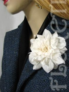 Couture Ivory Silk Camellia Wedding Dress Pin Bridal Hair Clip | Floreti - Wedding on ArtFire. $53.87