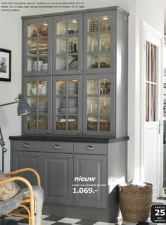 Ikea Lidingo Gray Cabinets - really like the glass door cabinets stacked on top Bodbyn Kitchen Grey, Grey Kitchen Walls, Grey Kitchen Cabinets, Grey Kitchens, Ikea Kitchen, Kitchen Redo, Home Kitchens, Kitchen Remodel, Kitchen Pantry