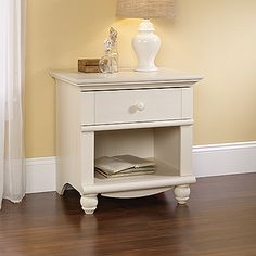 Cottage style Night Stand With Antiqued White Finish. (Also Available in Antiqued Paint Finish)