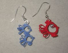 One Fish, Two Fish tatted earrings, tatting, Dr. Seuss, lightweight, teacher gift, clip on on Etsy, $15.00