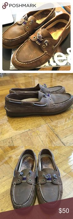 Brown sperry with purple accents. Women's 8 Brown sperry with purple accents. No laces (the style) women's 8 Sperry Shoes Flats & Loafers