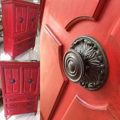Pop of red by Gaithersburg, MD stockist Catfish Studios | Emperor's Silk Chalk Paint® decorative paint by Annie Sloan