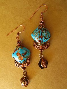 Copper Blue Dangle Earrings... Vintage glass Art Noveau Gypsy Boho Hippie