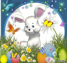 bunny Happy Easter Gif, Happy Friendship Day, Pet Birds, Tinkerbell, Diana, Bunny, Pets, Cards, Easter