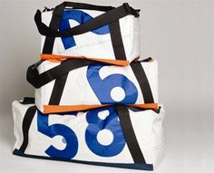 This duffle is made of reclaimed sailcloth. #upcycle