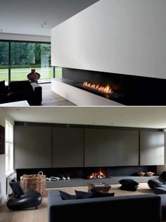 Love the long opening. This running the width of the back wall with exposed… Modern Fireplace, Fireplace Wall, Fireplace Design, Ethanol Fireplace, White Fireplace, Fireplaces, Living Room Interior, Home Living Room, Modern Interior