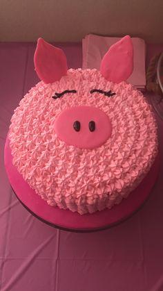 Pig cake k Pig Cupcakes, Cupcake Cakes, Piggy Cake, Pig Birthday Cakes, Animal Cakes, Pig Party, Cake Creations, Celebration Cakes, Cake Designs