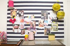 Stephanie s inspiration board turned home office: 10 lovely inspiration board ideas for home offices Workspace Inspiration, Inspiration Wall, Inspirations Boards, Tableaux D'inspiration, Girls Apartment, Panel, Happy Day, Getting Organized, Classroom Decor