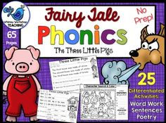 This set of over 25 different printable activities uses the fairy tale The Three Little Pigs as a vehicle to practice phonics, word work, sentence writing and poetry! Many of the pages have differentiated options to both support your beginning readers and challenge your advanced readers.
