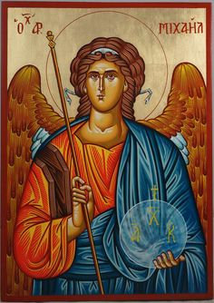 High quality hand-painted Orthodox icon of St Archangel Michael. BlessedMart offers Religious icons in old Byzantine, Greek, Russian and Catholic style. Religious Images, Religious Icons, Religious Art, Byzantine Icons, Byzantine Art, Paint Icon, Religious Paintings, Archangel Michael, Angels And Demons