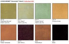 Scofield's LITHOCHROME Chemstain Classic color chart of acid stains for concrete.