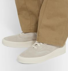 Fear Of God 101 Leather-trimmed Suede Sneakers In 050 Gry/crm Suede Sneakers, Embossed Logo, Vans, Footwear, Lace Up, Mens Fashion, God, Outfit, Heels