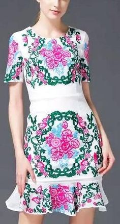 Multicolored-Floral Embroidered Flared Hem Dress-White