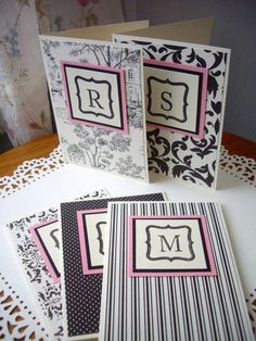 monogrammed notecards notecard set thank you by JDooreCreations, $7.50