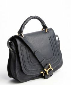 Chloe black leather 'Marcie' convertible tote