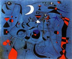 Joan Miro painting People at Night, Guided by Phospherescent Trails of Snails