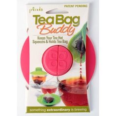 Primula Tea Bag Button Buddy - Silicone - 100% BPA, PVC, Phthalate, and Lead Free - Pack of 6 - Red, White, Pink, Green, Blue, and Black