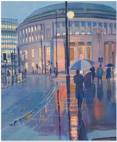 Manchester Central Library Rainy January by Bill Usher Manchester Day, Manchester Central, Framing Canvas Art, Central Library, Salford, Blue Backgrounds, Wonderful Places, January, England